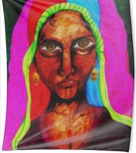 "Wall Hanging of Original Ink Painting, ""ZULFIZAR,"" by Hoosier Artist Stacey Torres"