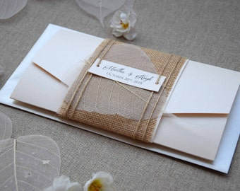 Burlap Wedding Invitation, Pocketfold Invite, Rustic Wedding Invite, Pocket Wedding Invitation, Simple Wedding Invitation - SAMPLE