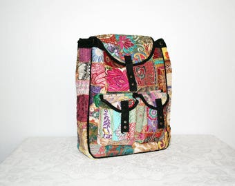 Patchwork, Swedish Black Backpack, Swedish Backpack, Patchwork Backpack, Rhinestones