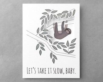 Sexy love card | Sloth card | boyfriend card | Girlfriend card | Anniversary card | Sloth miss you card | Husband card | Wife card