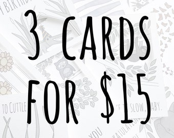 3 for 15 | Pun card | Funny card | Animal card | Cute card | Just because card | Sale cards | Die cut cards