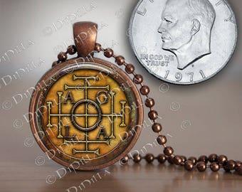 John Dee AGLA Sigil Enochian Large Pendant in Copper Bezel with Chain