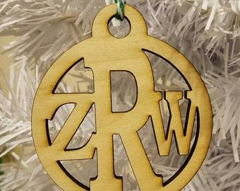 sale Wood triple monogram christmas Ornament wooden ornament dude monogram ornament masculine christmas ornament guy monogram male ornament