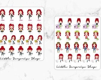 Kawaii Busy Girl Stickers// Poppy Style 1 & 2
