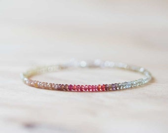 Delicate Shaded Zircon Bracelet with Red Sapphire, Natural Zircon Ombre and Genuine Red Sapphire Bracelet, Multi Gemstone Jewelry, Rose Gold