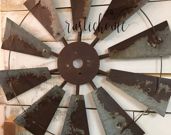 "30"" Windmill Rustic Rusted Metal  Vintage Country Barn Ranch Farmhouse Home Wall Decor Head Fan Full Size"