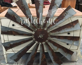 """47"""" Full Size Windmill Rustic Rusted Metal  Vintage Country Barn Ranch Farmhouse Home Wall Decor Head Fan"""