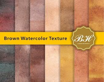 Brown Watercolor Digital Paper, Watercolor Background, Watercolor Scrapbook Paper, Digital Paper, Water color Art