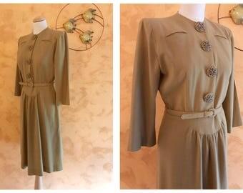 Vintage 1940s 1950s Mustard Woolen Crepe Long Sleeve Dress - Size M