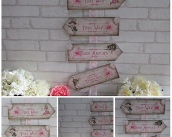 Alice in Wonderland Arrow Quote Sign Wedding, Tea Party,Decoration,Birthday,Decor,Party