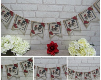 Red Floral Bride & Groom Skull Bunting/Garland Banner Wedding - Decoration,Decor,Gothic, Rose