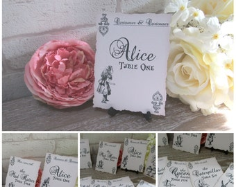 8 Alice In Wonderland Tattered Edge Table Number Name Cards  Decoration,Wedding,Party