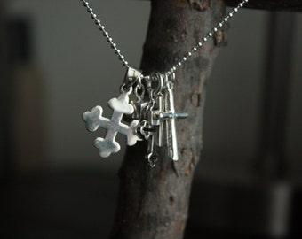 Sterling Silver Modern Cross Pendant / Charm
