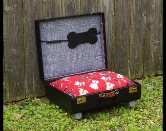 Vintage Classy Black  Custom Up-cycled DOG / CAT  hard case / suitcase bed