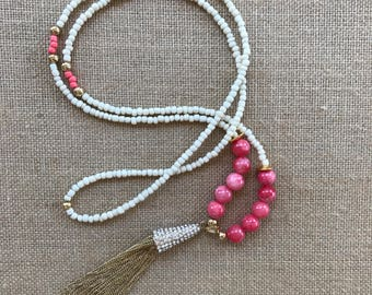 Long Tassel Necklace, Tassel Jewelry, Bohemian Style Necklace, Long Beaded Jewelry, Mothers Day Gift, Jewelry for Mom