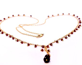 Gemstone Lariat Necklace, Garnet Necklace, Bridal Necklace, Handmade Beaded Jewelry garnet, 18k gold filled necklace-simple everyday jewelry