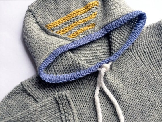 Hand Knit Child's Hooded Sweater, Knit Grey Merino Wool with Yellow Stripes Toddler's Hoodie, 9 m.-12 m.-2 y. Kid's Sweater