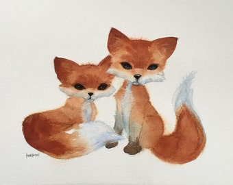 Watercolor Fox Art, Nursery Art, Kids Art, Woodland Painting, Original Illustration, Wildlife Art