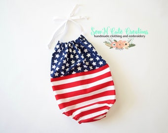 Stars & Stripes Romper, Patriotic, Red White Blue, Romper, Sunsuit, Summer, 4th of July, Stripes, USA, America, Summer Outfit, Toddler, Baby