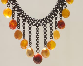 Vintage Baltic amber copper necklace, Honey amber and egg yolk Baltic amber necklace, Vintage Baltic amber jewelry, Handmade gift for her