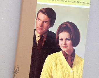 KNITTING NOTEBOOK - Hand bound, reused vintage knitting pattern, girlfriend gift, recycled gift