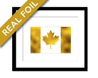 Canada Maple Leaf Flag Gold Foil Print - Canadian Flag Poster - Foil Flag - Geography Travel Poster - Flag of Canada Wall Art - Country Flag
