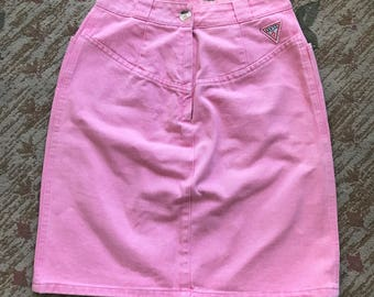 90s GUESS Pink Denim High Waist Skirt