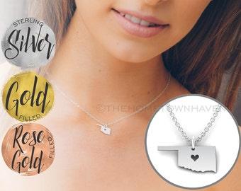 Oklahoma Necklace - Oklahoma love, Oklahoma map necklace, Oklahoma state necklace