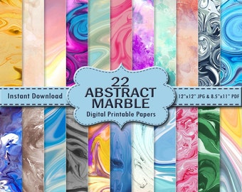Abstract Marble Digital Paper Pack 22 Scrapbook Paper Set 1 DOWNLOAD Printable Texture Background Blue Green Pink Teal Yellow Brown JPG PDF