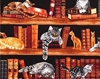 Library Cats Fabric Kittens Cats Library Book Shelf Shelves Timeless Treasures Cotton Fabric