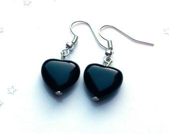 Black onyx heart earrings - black earrings - gift for her - sterling silver earrings  - heart earrings