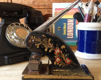 Vintage cast iron paper embosser, floral design