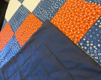 """Handmade Machine Stitched Patchwork Quilt, Red White & Blue, Paisley Print, 44""""X52"""""""