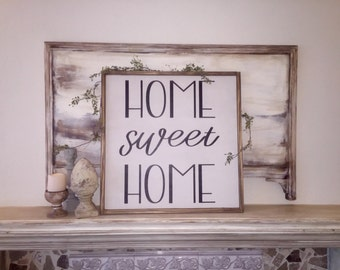 Home Sweet Home Farmhouse Style Wood Sign // Free Shipping