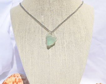 Beach Glass | Sea Glass Clear and Light Blue Necklace