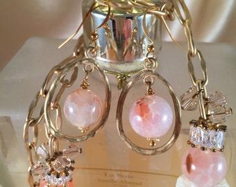 Agate brushed gold hoop   Earrings ,  Dangle Drop Peach Pink and Cream Gemstone Earrings #1009A