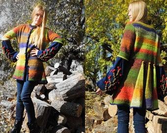 Wool cardigan with long sleeves stripe sweater knit women cardigan knit boho cardigan oversize sweater knit coat bright spring coat pom pom