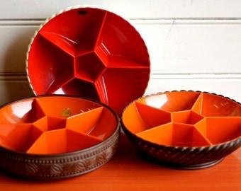 Emsa plastic snack dish, Emsa orange serving dish, plastic kitchenware, snack bowl Emsa plastic, retro plastic kitchenware, camping set