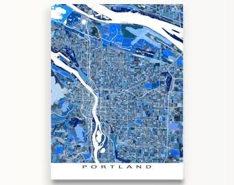 Portland Map Print, Portland Art, Street Map, Portland Oregon USA
