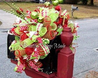 Deluxe Christmas Mailbox Swag, Mailbox Swag, mailbox topper,  Home Decor, mailbox cover, custom made, ready to ship, Holiday Decorations