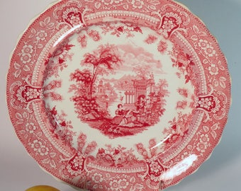 Red Transferware Dinner Plate, Romantic Staffordshire, Red Staffordshire, English Transferware, Antique English China, English Cottage c1840