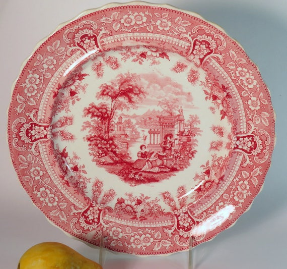 Red Transferware Dinner Plate, Romantic Staffordshire, Red Staffordshire, English Transferware, Antique English China, English Cottage c1840