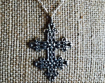 Sterling Silver Cross Necklace, Floral design, Cross of Lorraine, Catholic Jewelry, Christian Jewelry