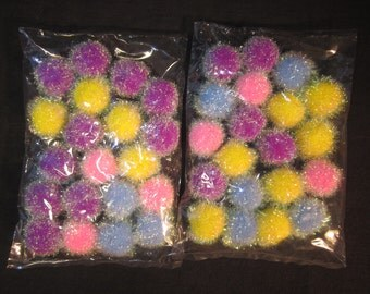"40 assorted iridescent 1"" pom poms, purple, pink, blue, yellow, vintage stock, for crafts, USA"