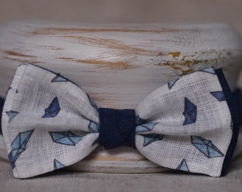 "Linen bow tie ""Paper ships"""