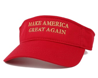 Donald Trump Visor, Make America Great Again - Quality METALLIC GOLD Embroidered Cotton Visor Cap