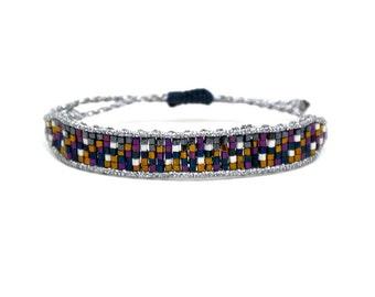 "Gypsy style ""mosaic"" bangle beaded bracelet silver"