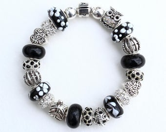 Genuine Pandora Bracelet~BLACK NIGHT~ European Style Beads & Owl Charm