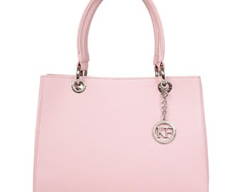 Leather Top Handle Bag, Pink Leather Handbag Top Handle, Women's Leather Bag KF-989