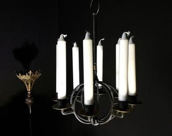 Weighty Vintage Candle Chandelier Brass 8 Arm Finished in Black  - Gothic Home Decor / Wrought Iron Decor / Rustic Home Decor  - 02908